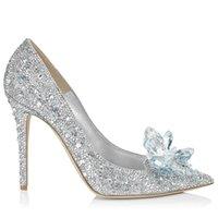 zapatos de boda rhinestone al por mayor-2019 Nuevo París Grado Zapatos de cristal de Cenicienta nupcial Rhinestone zapatos de boda con flor de cuero genuino tamaño pequeño grande