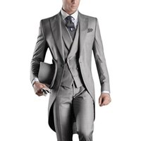 esmoquin color azul gris al por mayor-Custom White / Black / Grey / Light Gray / Purple / Burgundy / Blue Tailcoat Men Party Padrinos de boda trajes de esmoquin de boda (chaqueta + pantalones + chaleco)
