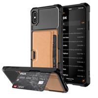 telefon tutacakları toptan satış-Lüks Manyetik Standı telefon Kılıfı Için iPhone X XS MAX XR 8 7 6 S Artı Tam Kapak Kabuk Araba Tutucu Telefon Kılıfı ile kredi kartı yuvaları