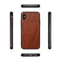 natürliche hölzerne abdeckung iphone groihandel-Heißer Entwurfs-runder Rand WOOD + TPU Telefon-Großhandelsfall für Iphone X / XS / XR / XS MAX. Natürliche hölzerne Bambusabdeckung für Iphone 7 8 plus 6 6s geben DHL frei