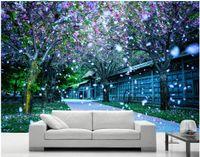 murais de parede japoneses venda por atacado-WDBH 3d papel de parede personalizado foto parque Japonês flor de cerejeira romântico bela decoração da paisagem Sala de murais de parede 3d papel de parede para paredes 3 d