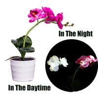 künstliche blumen lichter großhandel-Blaue Seidenblumen des Schmetterlings blühen Schmetterlings-Blumen-LED künstliche Topf-Blumen-Bonsais LED-Kranz-Pfingstrose