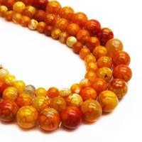 ingrosso braccialetto di pietra arancione-Arancione naturale pietra fuoco drago vena agata pera 6 8 10 mm perline fatti a mano fai da te braccialetto di produzione gioielli sciolto perline accessori