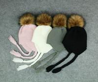 bonnets roses noirs achat en gros de-Toddler Winter Warm Cap Enfants Fille Garçons Crochet Tricot Bonnet Infant Unisexe Bonnet Noir Rose Blanc Gris