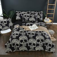 skull bedding toptan satış-3D tasarımlar 3D kafatası baskı yatak seti kraliçe kral reaktif baskı iyi haslığı karikatür tasarımları leopar linon kedi seatacion