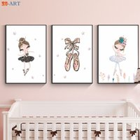 Wholesale pictures for nursery for sale - Group buy Ballerina Art Print Poster Cute Canvas Painting Pink Gold Purple Wall Art Nursery Girls Room Decoration Pictures Gift for Girl
