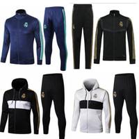 Wholesale tracksuit real resale online - 19 tracksuit Marseilles Real Madrid soccer Training suit Real Madrid tracksuits MBAPPE LUCAS maillot de foot jacket kit