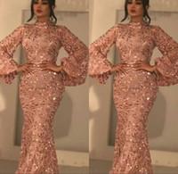 pembe resmi elbiseler kolları toptan satış-2020 Yeni Bling Denizkızı Gelinlik Modelleri Yeni Arapça Seksi Yüksek Yaka Uzun Kollu Pullarda Allık Pembe payetli Artı boyutu Örgün Parti Abiye Giyim