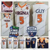 camisas da marinha venda por atacado-2019 Campeões Virginia Cavaliers Kyle Guy Branco Jersey # 5 UVA NCAA Final Quatro 12 De'Andre Hunter Basquete dos homens da Marinha Azul Jerseys XXXL