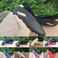 messi açık futbol ayakkabıları toptan satış-Erkek Futbol Boots Nemeziz 19.3 Laceless FG 19.3s Futbol Profilli Messi 360 altın SİYAH MAVİ kırmızı Çeviklik Açık Erkekler Futbol Ayakkabı 39-45