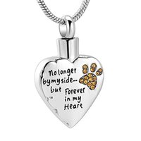 Wholesale urns for dogs for sale - Group buy Stainless Steel Cremation Urn Necklace for Ashes No Longer by My Side Forever in My Heart cat dog Paw print Birthstone pendant