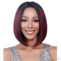 Wholesale wine red short hair resale online - Wigs in Europe and America women s bobo hair type chemical fiber dyed black gradient wine red short hair set