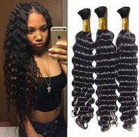 Wholesale human braiding hair weft free for sale - Group buy 8A brazilian deep wave hair bulk no weft human hair bulk for braiding unprocessed hair products dhl free