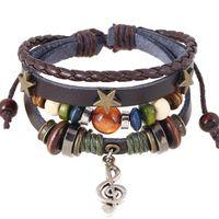 boutons d'étoiles en bois achat en gros de-Fait à la main Boho Gypsy Hippie Design En Cuir Marron Avec Star Note Charmes En Métal En Bois Bouton Perles Wrap Bracelet Réglable Unisexe