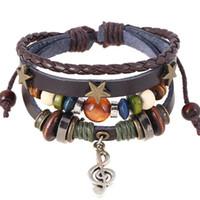 brauner knopf holz großhandel-Handgemachte Boho Gypsy Hippie Design braunes Leder mit Star Note Metall Charms Holzknopf Perlen wickeln Unisex verstellbares Armband