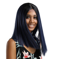 черные волосы парики волны оптовых-Long straight hair Wigs for Women Brazilian Black Lace Front Full Wig Bob Wave Natural Looking Fashion Women Wigs hair styling