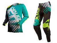 ingrosso volpi nere-Retro Classic NAUGHTY FOX 360 Tuta da cross Motocross SAVANT Maglia + Pantaloni MX DH MTB Tuta da strada Offset Moto Gear Nero / Blu