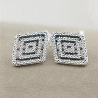 ingrosso orecchini di diamanti di alta qualità-Moda creativa orecchini geometrici del diamante della CZ argento 925 per i gioielli Pandora con la scatola originale signore di alta qualità orecchino elegante