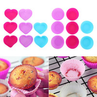 Wholesale cupcake for sale - PVC Box Muffin Cupcake Mould Round Shape Silicone Case Bakeware Maker Mold Tray Baking Cup Liner Baking Molds MMA1408