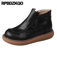 harajuku noir chaussures femmes achat en gros de-bottillons côté bottes zip chaussures femmes Flatform plate-forme courte creepers à muffins 2019 lacets cheville imperméable noir plat Harajuku