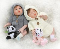 Wholesale newborn baby girl twins resale online - New CM newborn baby doll twins boy and girl full body silicone soft touch bath toy Xmas Gift hand detailed paiting toys for children