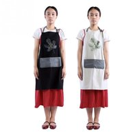 фартуки оптовых-New Style Home Kitchen Apron Restaurant Pocket Cooking Cotton Apron Bib Unisex Kitchen Cooking Aprons