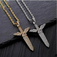 ingrosso fascino di spada d'oro-Gioielli Hip Hop Iced Out Pendant Mens Bling Diamond Angel Sword Designer Collana Catena d'oro Hiphop Rapper Accessori Charms moda