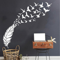 Wholesale bird decor resale online - Delicate Feather Bird Decorative Vinyl Wall Stickers Bedroom Decor Decals Sticker For Kids Room Decoration Wallstickers