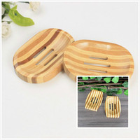 bambusseifen großhandel-Natürliche Bambus Holz Seifenschale Holz Seifenschale Halter Lagerung Seife Rack Platte Box Container für Bad Dusche Badezimmer