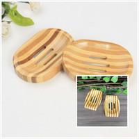armazenamento de caixas de bambu venda por atacado-Natural De Bambu De Madeira Saboneteira Saboneteira De Madeira Titular Rack De Armazenamento De Sabão Caixa de Placa Recipiente para Banho de Chuveiro Do Banheiro