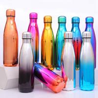 moda su şişeleri toptan satış-Moda Kola Şeklindeki Şişe 500 ML Yalıtımlı Çift Duvar Vakum Paslanmaz Çelik Su Şişesi Spor Termos Kok Ourdoor Yürüyüş Bardaklar TTA1540