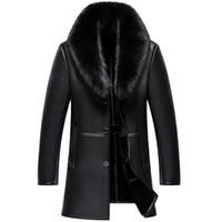 меховой воротник длинное пальто мужчины оптовых-Russian Winter  Fur Collar Leather Jacket Men New Business Casual Medium Long Windbreaker Coat Male Sheep Skin Jacket 5XL