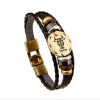 sternzeichen stier armbänder großhandel-Taurus Lederarmband Mode Tierkreis Armband Geburtstagsgeschenk echtes Leder Paar Zubehör