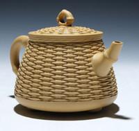 tetera de mano al por mayor-Hecho a mano Zisha tetera Yixing tetera auténtico original sección de barro tres pies cesta de bambú 420 ml Venta caliente Shiping libre
