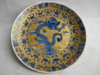 eski çince boyama toptan satış-Antik Çin seramik resim ejderha tabağı