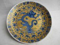 pintura china antigua al por mayor-Cerámica china antigua pintura placa de dragón