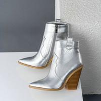 weiße high heel stiefel großhandel-Leopard Winter-Ankle Boots für Frauen Western-Cowboy-Stiefel für Frauen-Keil-Absatz Weiß Braun Schwarz Snake Print Booties 2019