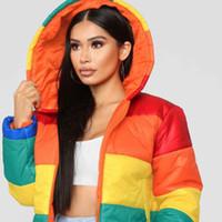 Wholesale rainbow warmers resale online - Rainbow Print Warm Puffer Jacket Winter Bubble Coat Women Parkas
