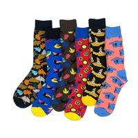 lustige gedruckte kleider großhandel-Großhandel Herren Luxus bunte Baumwolle Spaß Neuheit Kleid Socken - Funny Print Cotton Socks Candy Farbe für Männer Happy Socks