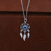 collar de tejido de plata al por mayor-S925 Collar de plata pura hueso collar persiguiendo sueños delicados tejido neto atrapasueños joyería atrapasueños collar joyería