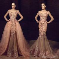 ingrosso fiori di ricamo in rilievo-Tony Chaaya 2019 New Mermaid Overskirts Prom Dresses Maniche lunghe Fiore Ricamo In rilievo Abiti da sera Sexy Plus Size Abito formale