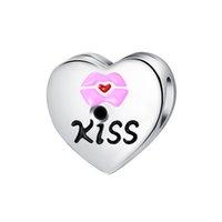 lippenfilm großhandel-Big Hole Zink-Legierung Lose Perlen Herz Roten Lippen Perle Für Pandora Armband Schmuck DIY Europäischen Armband Für Frau