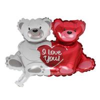 несет медведи оптовых-100шт Валентин Wedding Decor партии двойной медведь объятие Сердце Фольга Гелий Воздушные шары партия