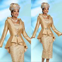 ingrosso vestito dalla giacca sposa della madre dell'oro-Plus Size 2 pezzi d'oro madre dei vestiti dalla sposa con il rivestimento 2020 del tè elegante lunghezza del manicotto Vintage abiti di sera convenzionali