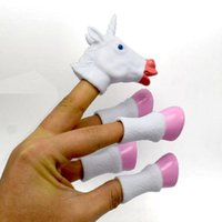 Wholesale pink puppets for sale - Group buy Cartoon Unicorn Finger Puppet Kids Toy Finger Doll White Pink Color Baby Educational Hand Toy Tell Story Party Favor CCA9836 set p