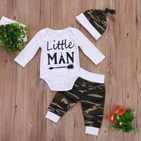 Wholesale baby 3pcs clothing set trousers for sale - Group buy 3PCS Set Camo Newborn Baby Boy Clothes Little Man Long Sleeve Cotton Romper Bodysuit Tops Long Pant Trouser Hat Kid Clothing Set