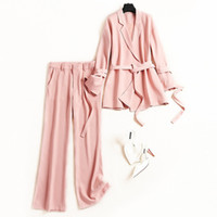 primavera verano mujer trajes elegantes al por mayor-Breve traje de chaqueta de color rosa para mujer oficina lade chiffon blazers + pantalón largo conjunto de dos piezas trajes elegantes nuevo 2019 primavera verano