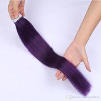 lila farbe menschenhaareinschlagfaden großhandel-Hauteinschlagfaden menschliches remy Haar-PU-Band im Haarverlängerungs-purpurroten Farben-peruanischen geraden Wellen-Haar 14-26 Zoll, freies Verschiffen