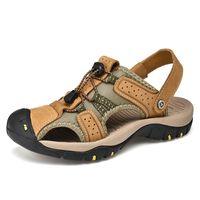 moda ayakkabıları kore tarzı erkekler toptan satış-Kore tarzı erkekler moda büyük boy hakiki deri ayakkabı sahil ayakkabı yaz sandalet ayak sandalet zapatos de hombre kapakları