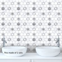 белая стена плитка кухня оптовых-15*15cm/20*20cm PVC Waterproof Self adhesive Gray and White Tiles Sticker Furniture Kitchen DIY Tile Sticker Wall Decal TS036